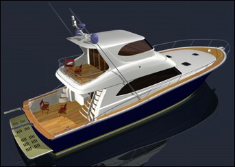 64 ft production monohull powerboat designs by Lidgard Yacht Design