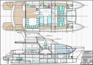 Lidgard multihull Design 56 ft power catamaran interior plan