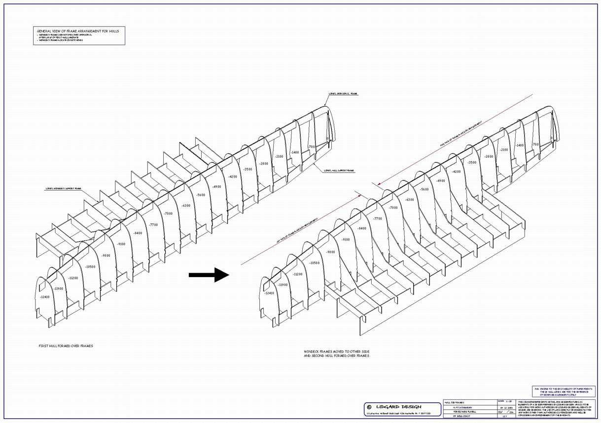 Lidgard Yacht Design, 40 ft catamaran multihull study plan